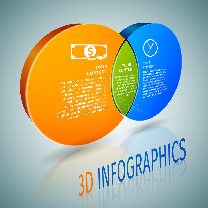 Okrąg mapy 3d infographics ilustracja wektor