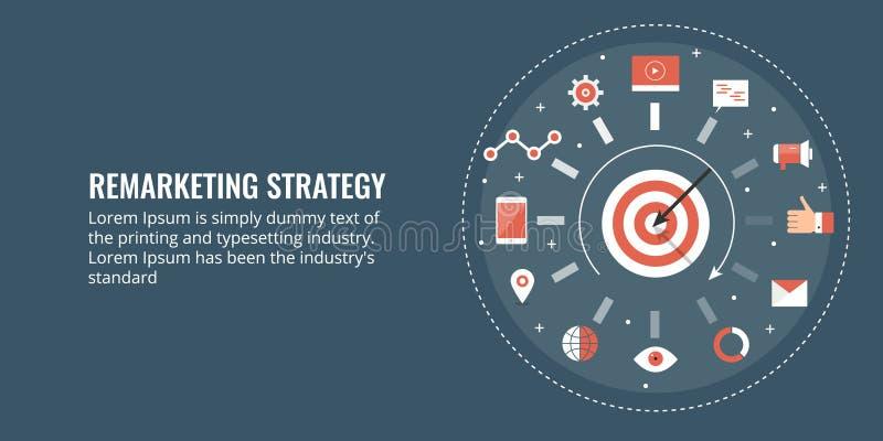 Okrąg marketing strategia, celujący widownię, wprowadzać na rynek proces Płaski projekta sztandar ilustracja wektor