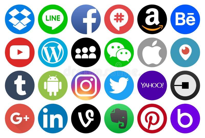 Okrąg medialne i inne popularne ogólnospołeczne ikony ilustracji