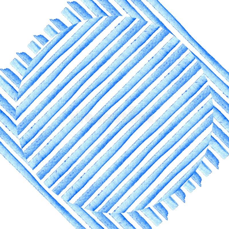 Okrąg na Błękitnych lampasach Tło akwareli obraz Abstrakcjonistyczna ręka malujący paski styl retro Elementu projekt dla plakatów ilustracji