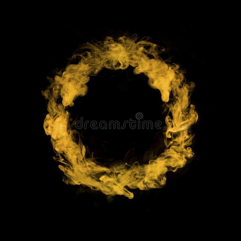 Okrąg od żółtego kolorowego dymu obraz royalty free