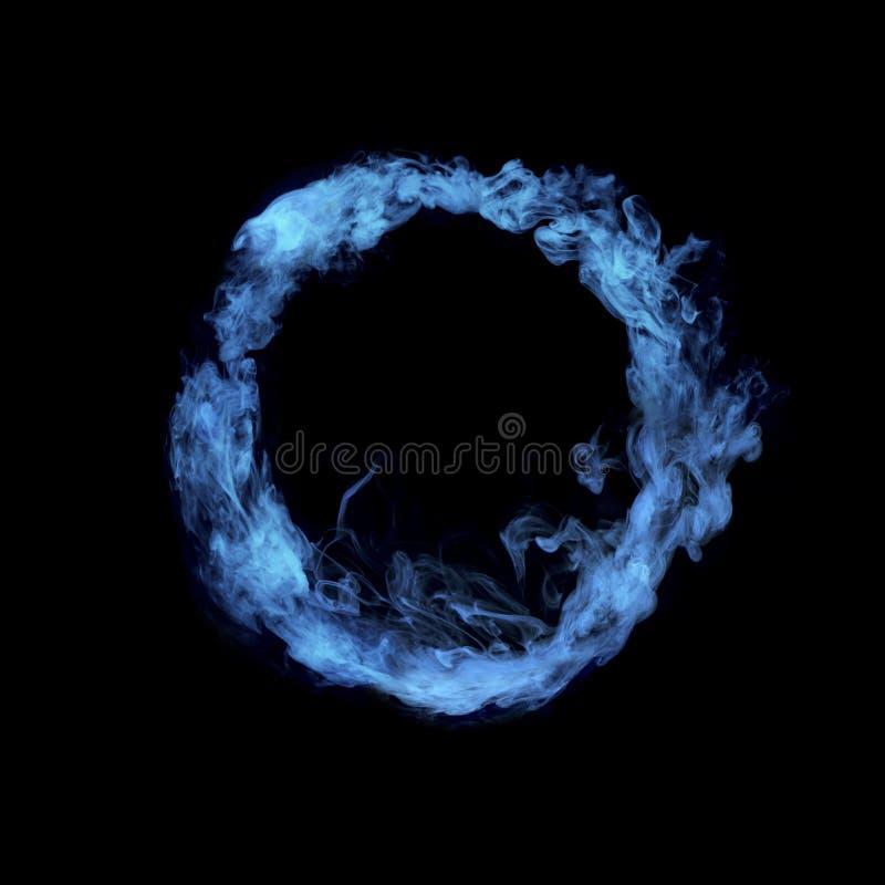 Okrąg od błękitnego kolorowego dymu fotografia royalty free