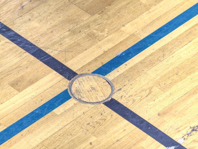Okrąg pokrywy prymka dla sporta wyposażenia w podłodze szkolny gym zdjęcie royalty free