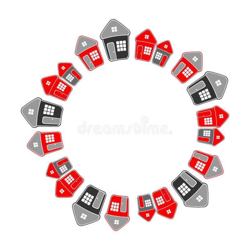Okrąg rama prości domy koncepcja real nieruchomości ilustracji