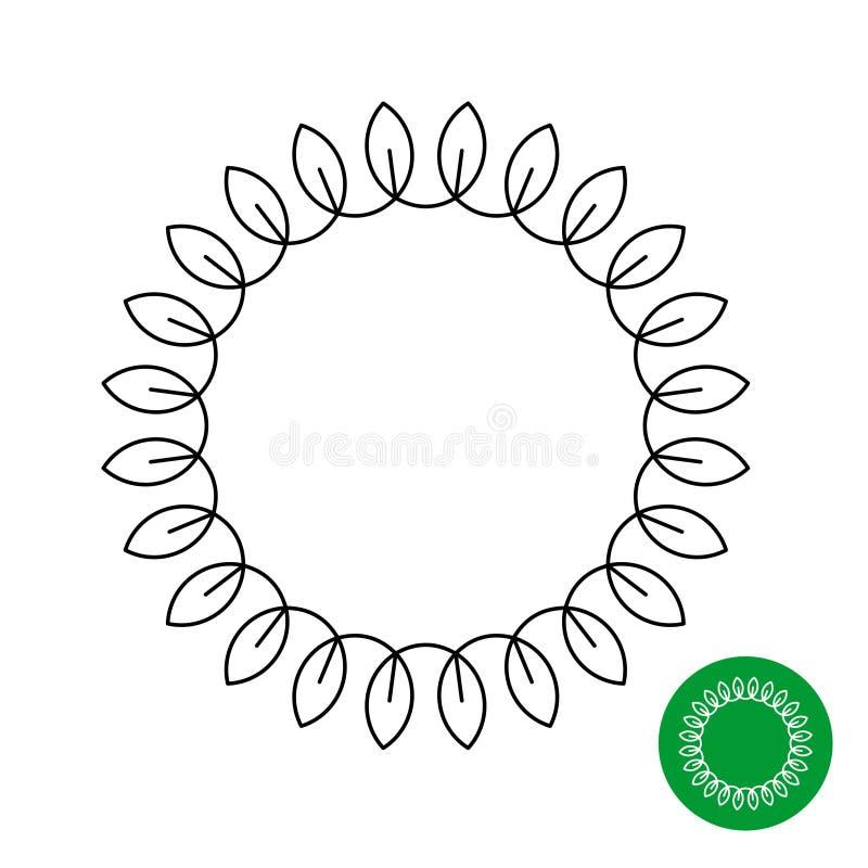 Okrąg rama z liśćmi Kreskowego stylu round bobek ilustracja wektor