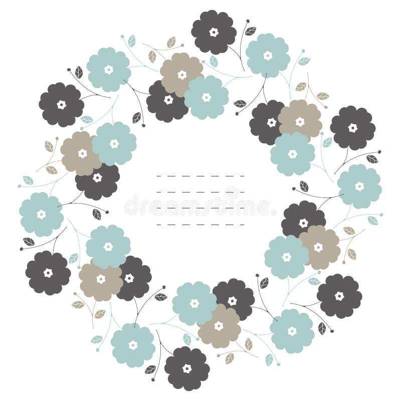 Okrąg rama z pasteli/lów liśćmi na białych półdupkach i kwiatami ilustracji