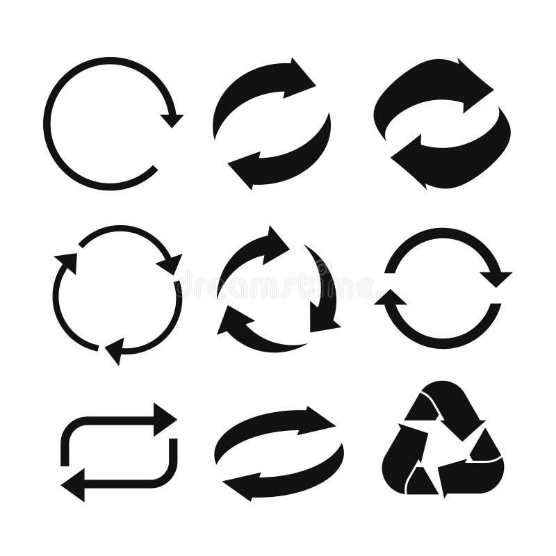 Okrąg strzała ikona Odświeża strzałkowatą ikonę i przeładowywa Obracania vecto ilustracji