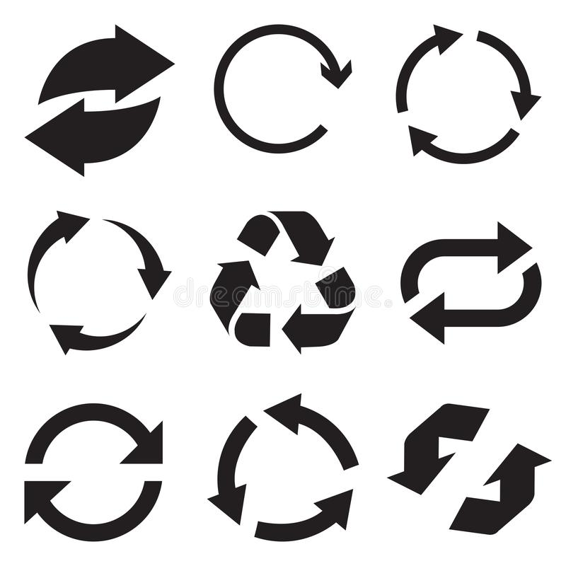 Okrąg strzała ikona Odświeża strzałkowatą ikonę i przeładowywa Obracanie wektorowe strzała ustawiać Wektorowy Illustartion ilustracji