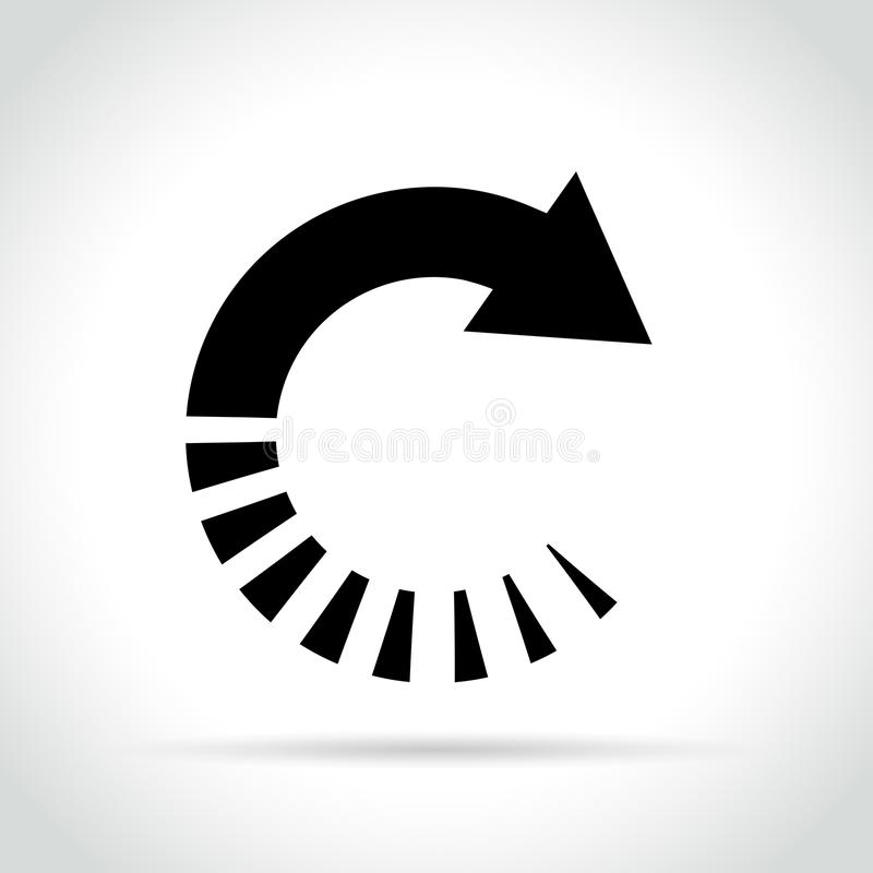 Okrąg strzałkowata ikona na białym tle ilustracja wektor