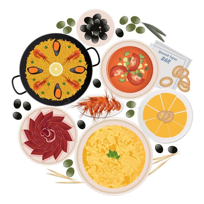 Okrąg typowi tapas i naczynia odizolowywający na białym tle hiszpański jedzenie royalty ilustracja