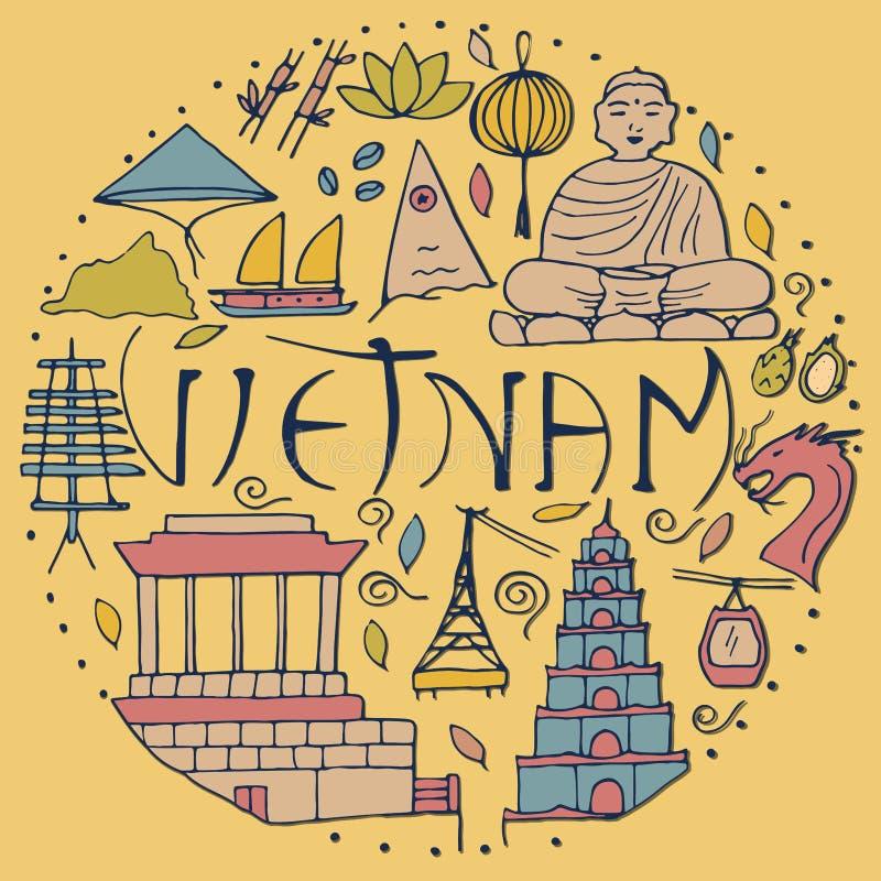Okrąg z kreskowymi Wietnam symbolami ilustracja wektor