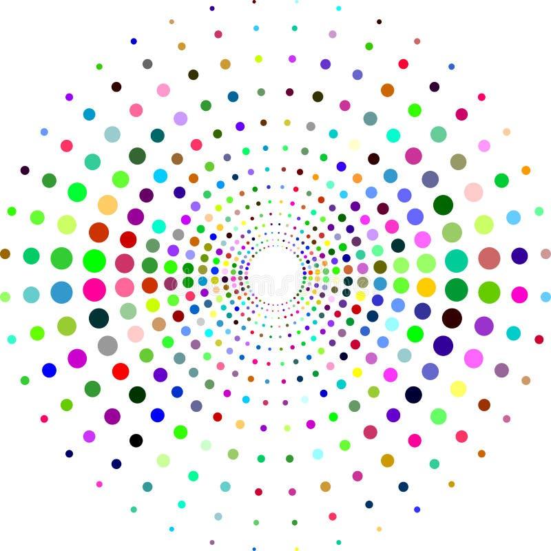 Okrąg z kropkami dla projekta projekta Halftone skutka wektoru ilustracja Kolorowe kropki na białym tle tła piękny lato sunburst ilustracji