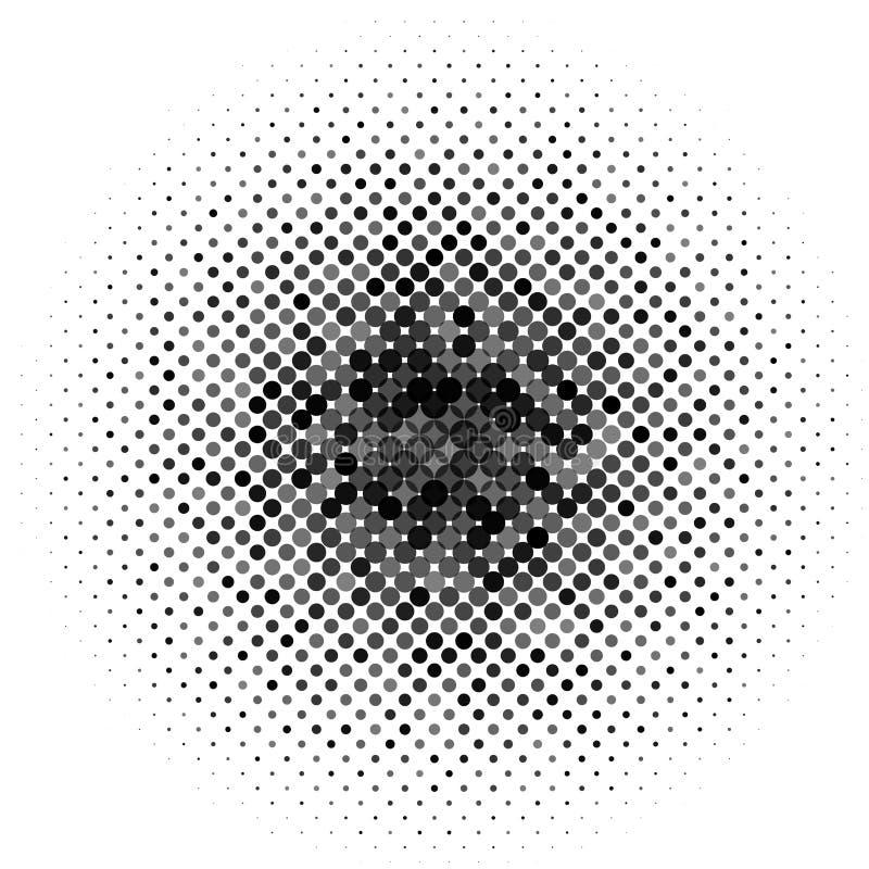 Okrąg z kropkami dla projekta projekta Halftone skutka wektoru ilustracja Kolorowe kropki na bielu ilustracji
