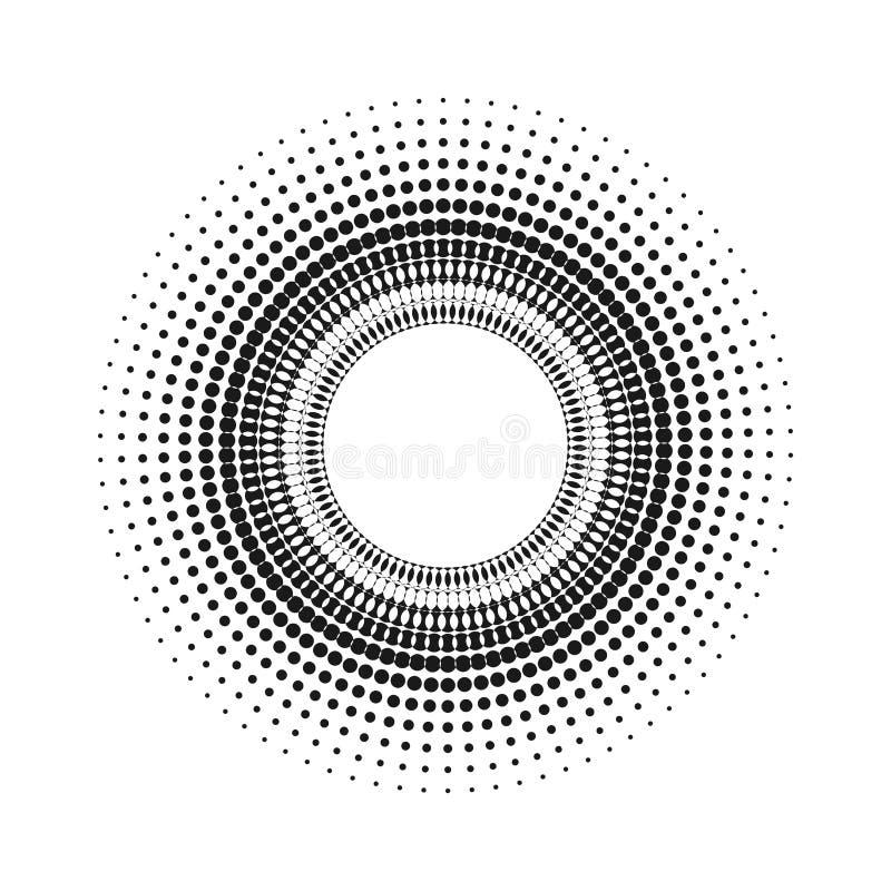 Okrąg z kropkami dla projekta projekta Halftone skutka wektoru ilustracja Szarość kropki na białym tle Czarny i biały Sunburst ilustracji