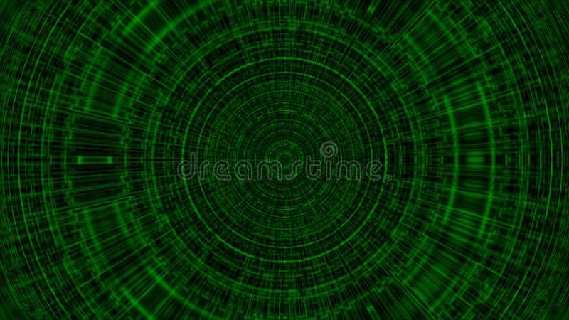 Okrąg z siatką, abstrakcjonistyczną biznesową nauką lub informatyki tłem, 3d odpłaca się tło, komputer wytwarzający ilustracja wektor