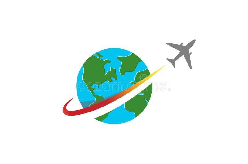 Okrąg ziemi planety Samolotowy Kreatywnie logo ilustracja wektor