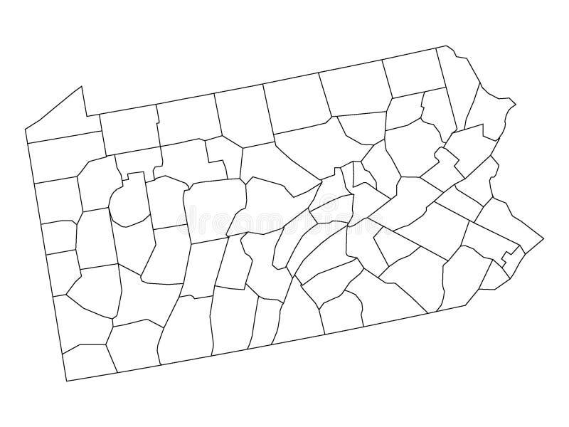 Okręg administracyjny mapa stan usa Pennsylwania ilustracji
