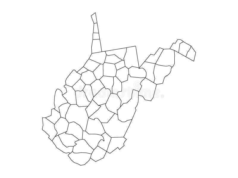 Okręg administracyjny mapa stan usa Zachodnia Virginia ilustracja wektor