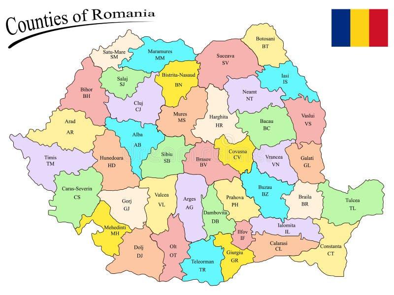 Okręg administracyjny Romania ilustracja wektor