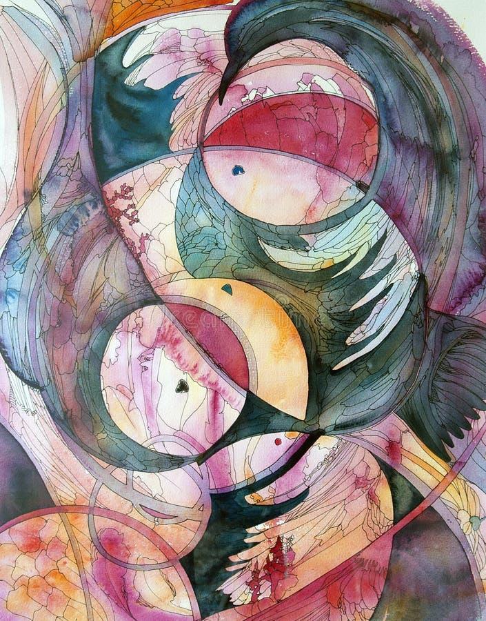 Okręgi i piórka - abstrakcjonistyczny akwareli i atramentu obraz ilustracji