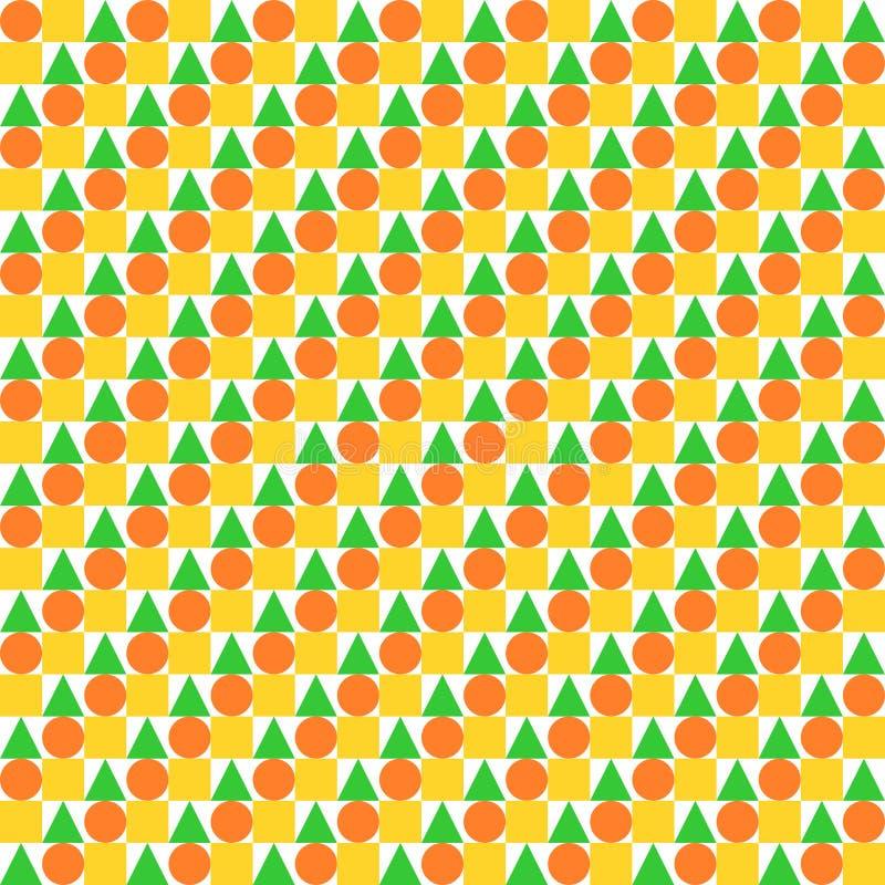 Okręgi, kwadraty i trójboki równo umieszczający w rzędach, ilustracja wektor