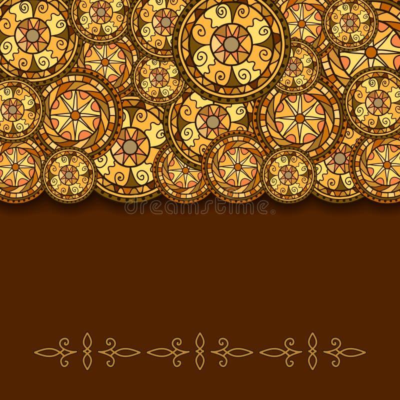 Okręgi z dekoracyjnymi zawijasami i cieniem Rysujący ręką Wektorowy tło ilustracji