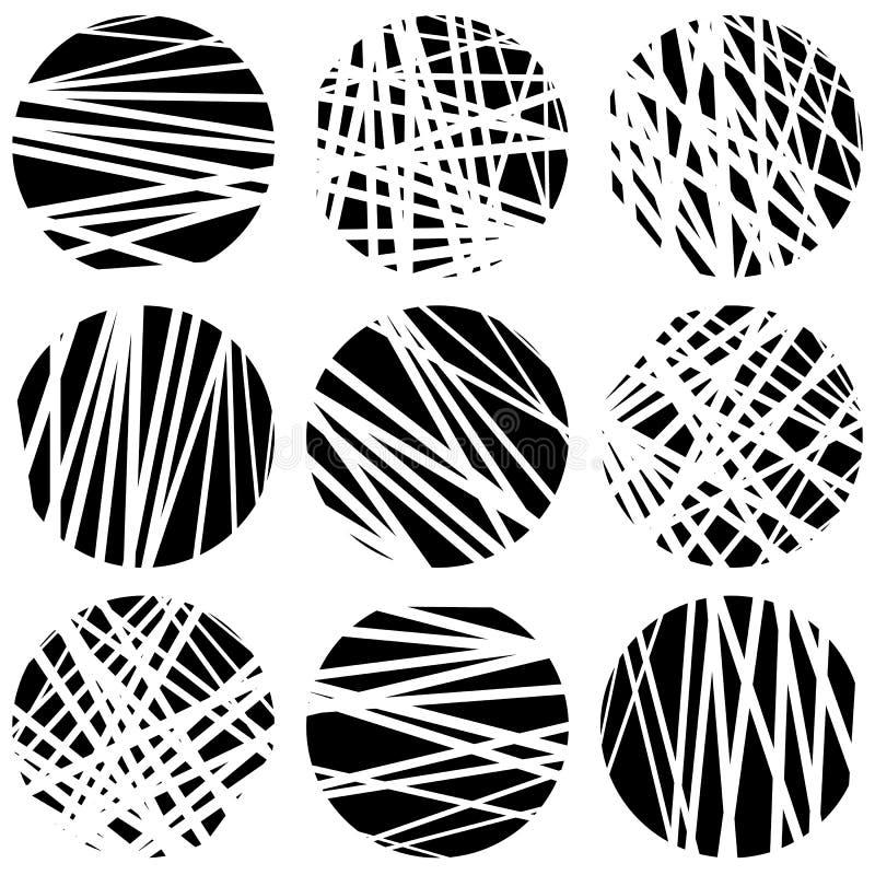 Okręgi z przypadkowymi chaotycznymi, nieregularnymi liniami prostymi, Dynamiczny l ilustracja wektor