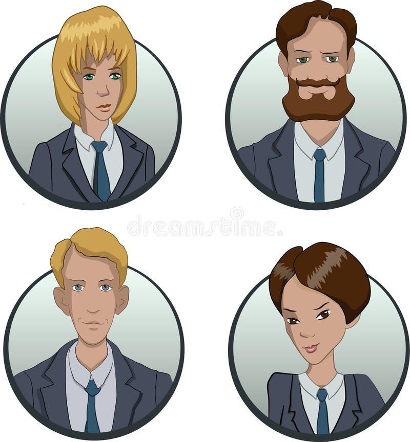 Okręgu biznesu drużyny ikony ustawiać w mieszkaniu projektują ilustracja wektor