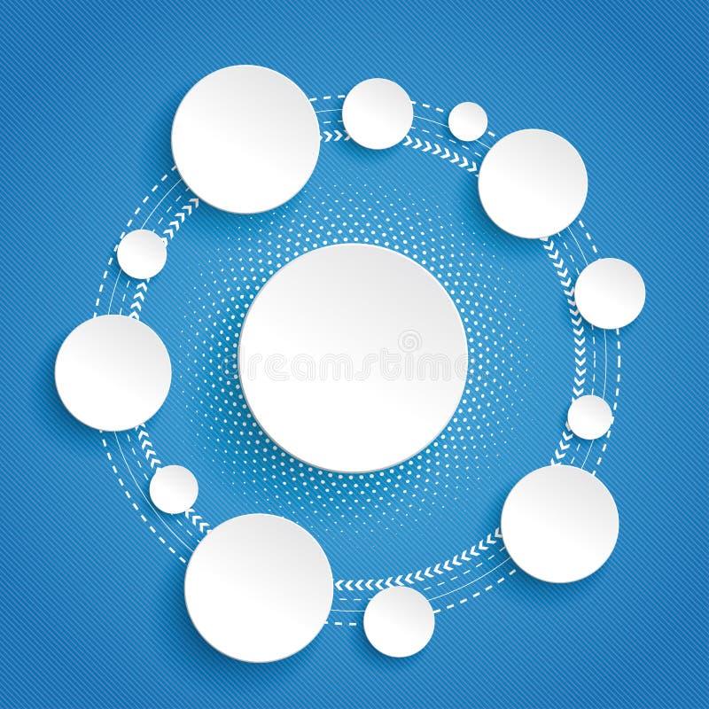 Okręgu cyklu Infographic błękita tło ilustracja wektor