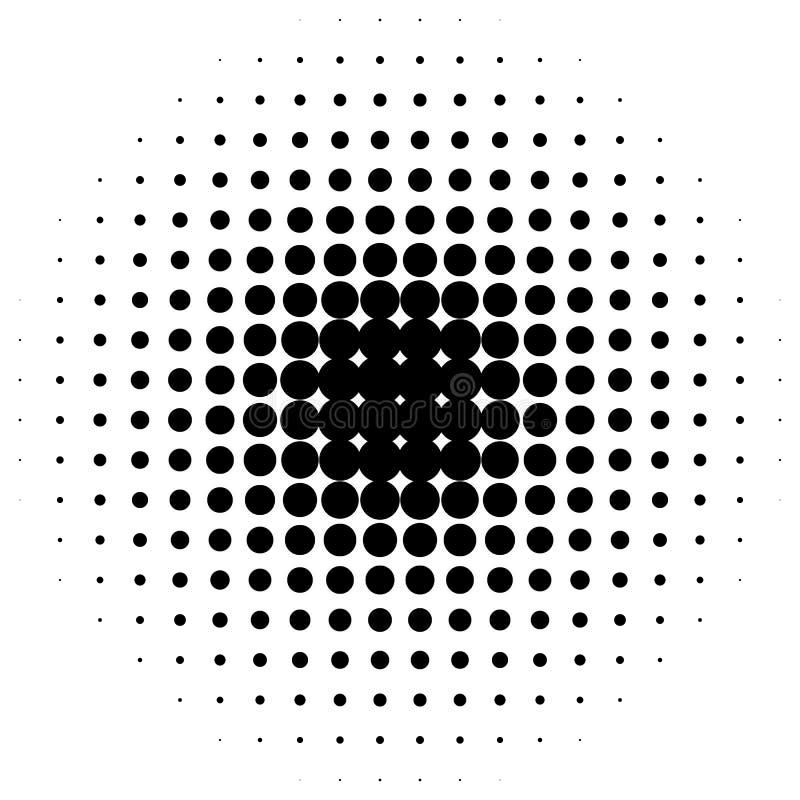 Okręgu halftone element Monochrom kropkujący kurenda wzór ilustracja wektor