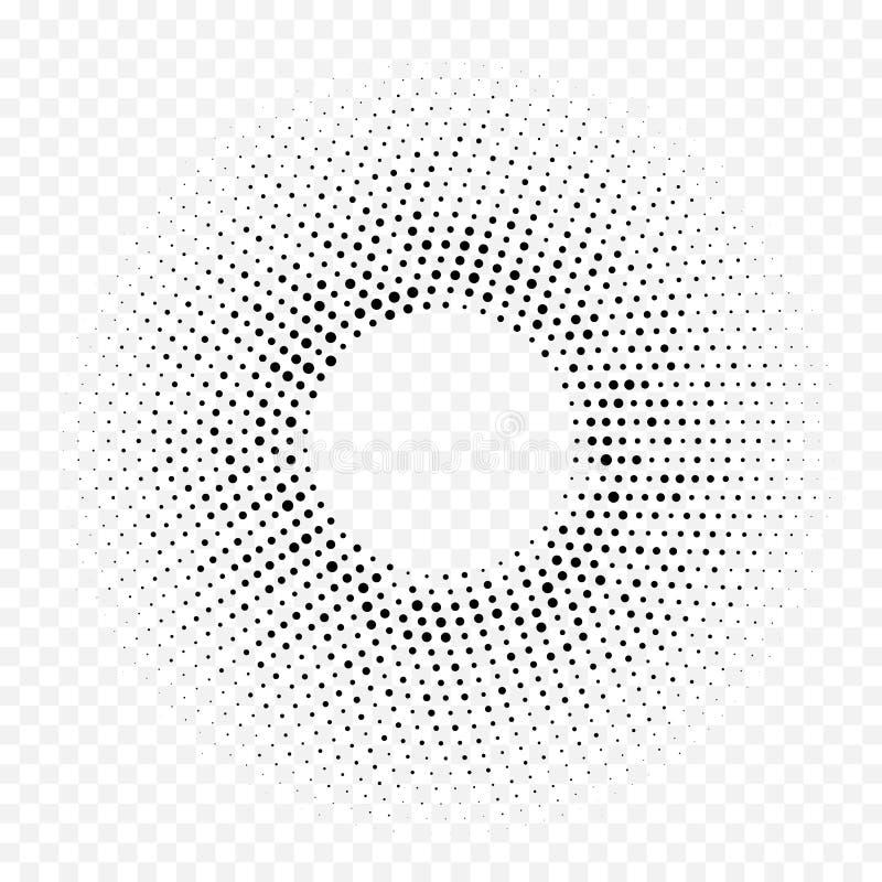 Okręgu halftone gradientu geometrycznego kropkowanego wzoru tekstury wektorowy abstrakcjonistyczny biały minimalny tło ilustracji