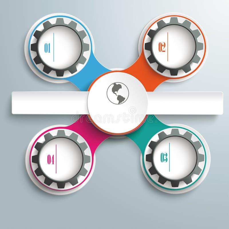 Okręgu I czerni przekładni łańcuchy Barwiący Przecinający prostokąty Infographi ilustracja wektor