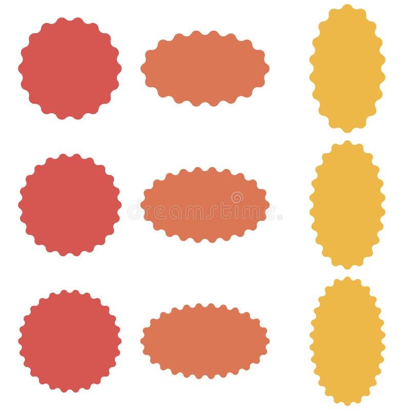 Okręgu i owalu odznaki majcher, starburst mowy bąble, wektorowego majcheru faliste krawędzie, odznaka szablon ilustracja wektor