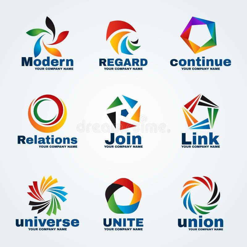 Okręgu i pentagrama loga sztuki wektorowy projekt dla biznesu ilustracja wektor