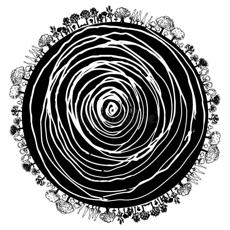 okręgu ikony korzenia drzewo ilustracja wektor