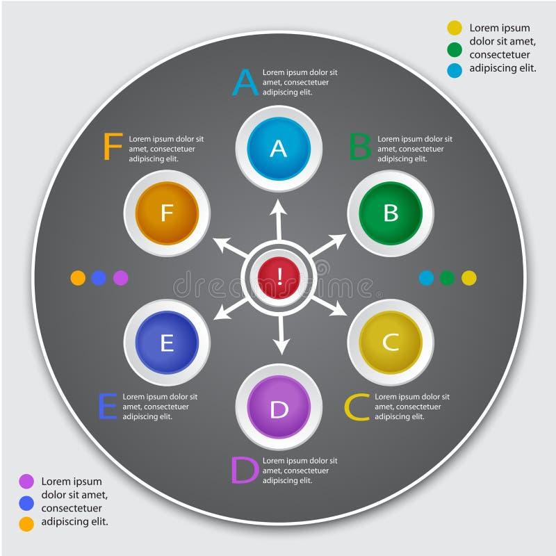 Okręgu infographic szablon Liczący sztandar ilustracji