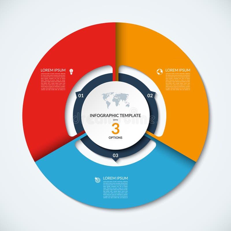 Okręgu infographic szablon Wektorowy układ z 3 opcjami ilustracji