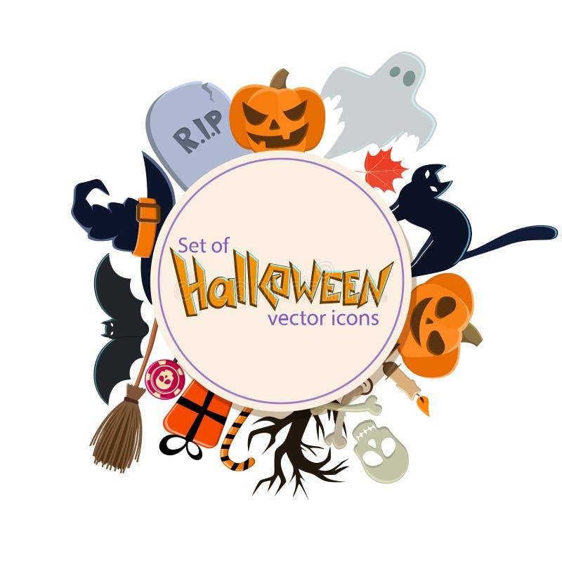 Okręgu kształta szablon z Halloweenowymi ikonami royalty ilustracja