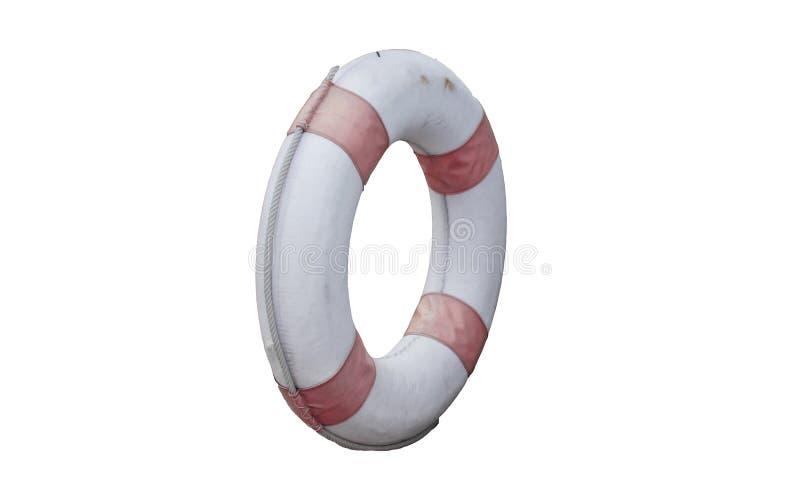 Okręgu lifebuoy stary odosobniony na białych tło ?ycie ciu?acz fotografia royalty free