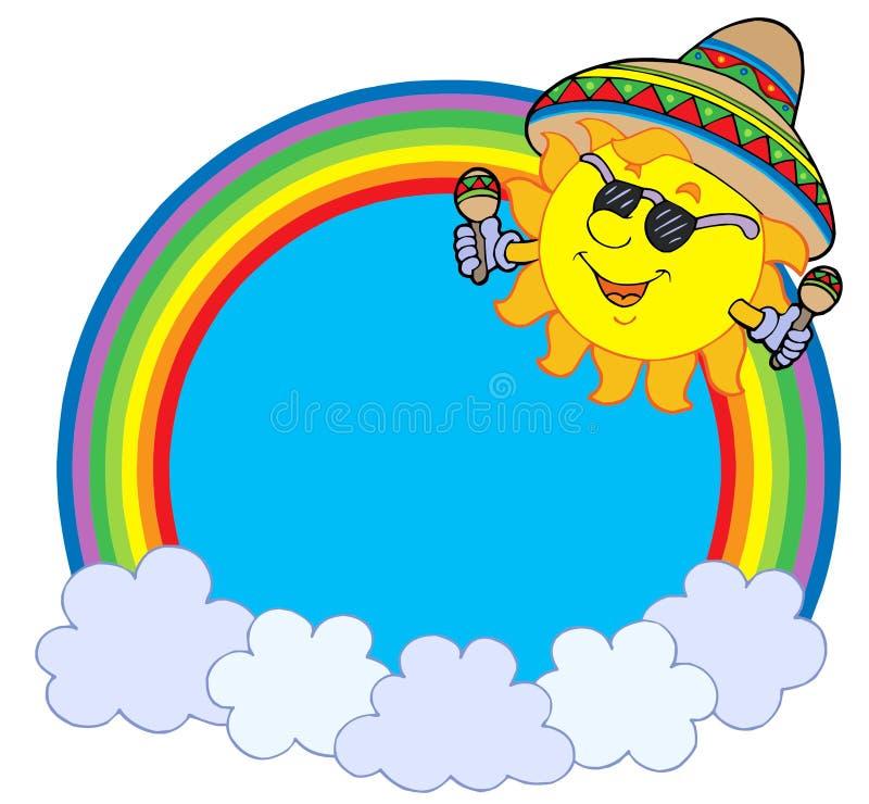 okręgu meksykański tęczy słońce ilustracja wektor