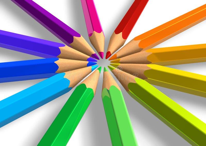 okręgu ołówków tęcza ilustracji