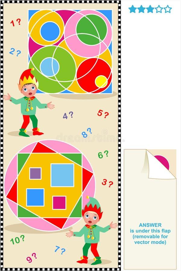 okręgu obliczenia łamigłówki kwadraty royalty ilustracja
