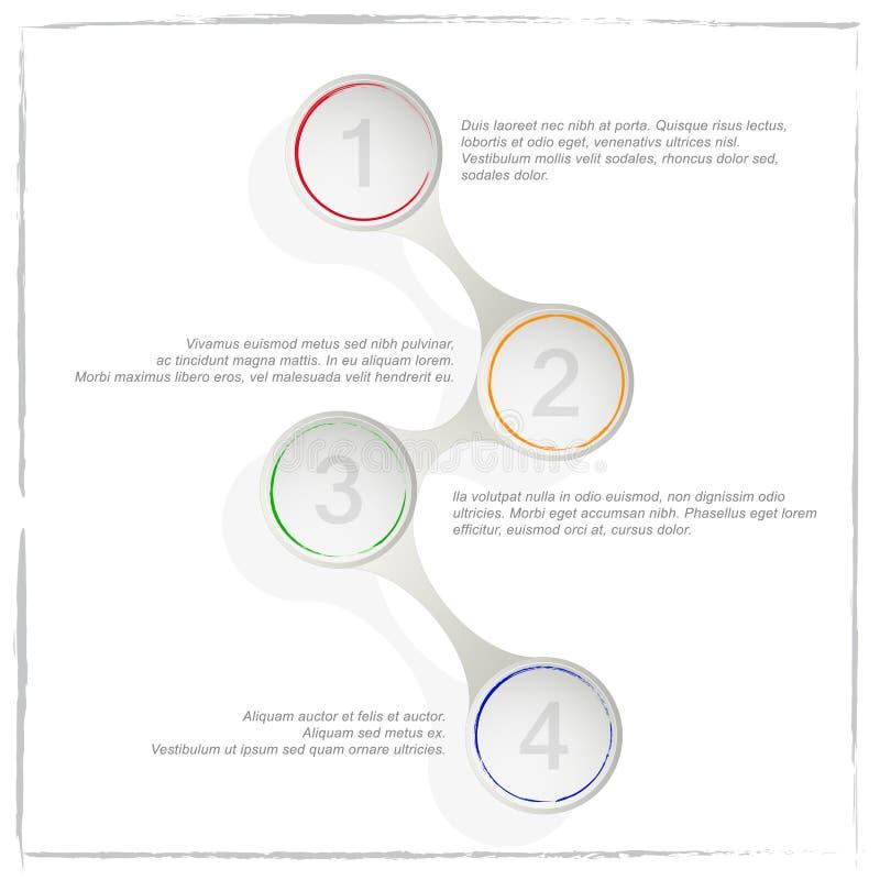 Okręgu proces szablon infographic Biznesowy pojęcie z opcjami, częściami, krokami lub procesami 4, ilustracji