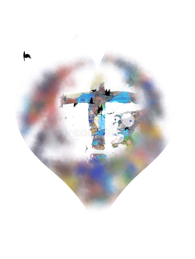 okręgu przecinająca medalionu czerwień ilustracja wektor