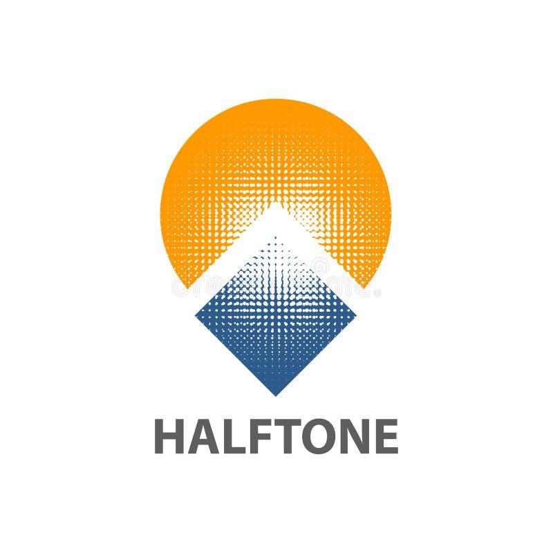 Okręgu słońca kwadrata logo pojęcia halftone projekt Symbolu szablonu graficzny element ilustracji