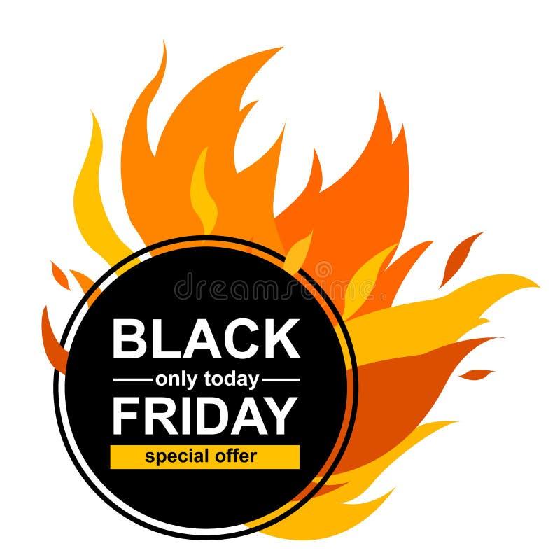 Okręgu sztandar z ofertą specjalną w Black Friday Czarna karta dla gor?cej oferty z rama ogienia grafik? ilustracji