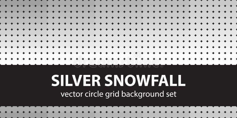 Okręgu wzoru setu srebra opad śniegu ilustracja wektor