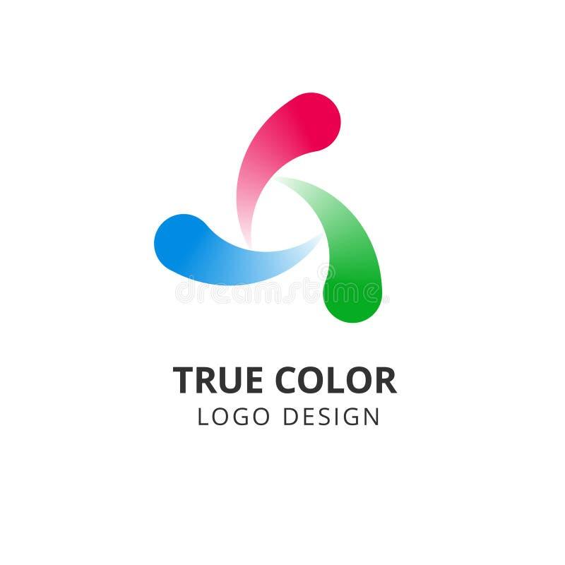 Okręgu zawijasa logo Kolorowy round abstrakcjonistyczny emblemat Prawdziwego koloru spirali wektor odizolowywający projekt ilustracji