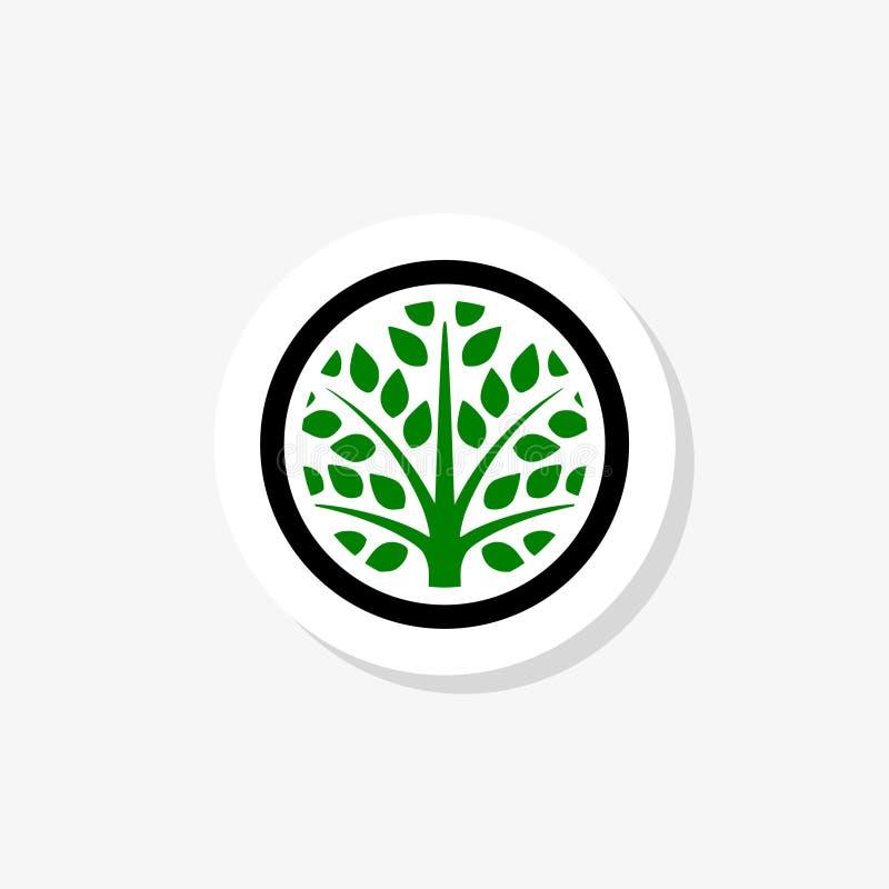 Okręgu zielony drzewo z liścia logo majcherem ilustracji