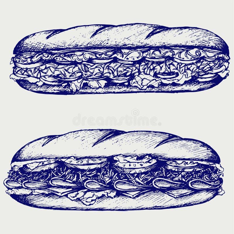 Okręt podwodny kanapka z kiełbasą, serem, sałatą i pomidorem, ilustracji